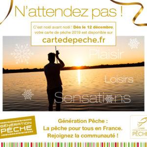 Les cartes de pêche de la saison 2019 seront disponibles à partir du 12 décembre 2018 !