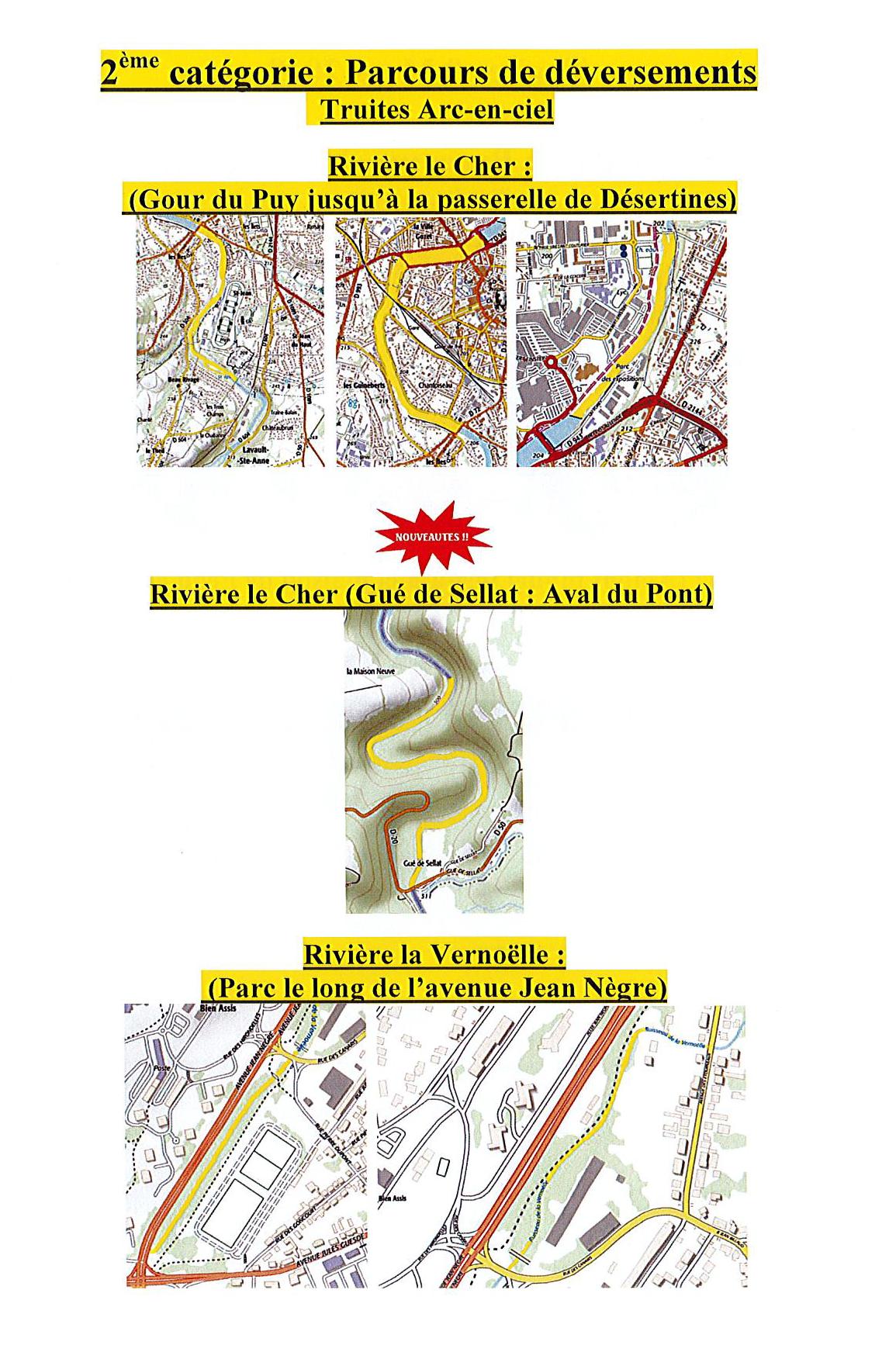 1 – Parcours déversements 2ème catégorie AAPPMA MONTLUCON
