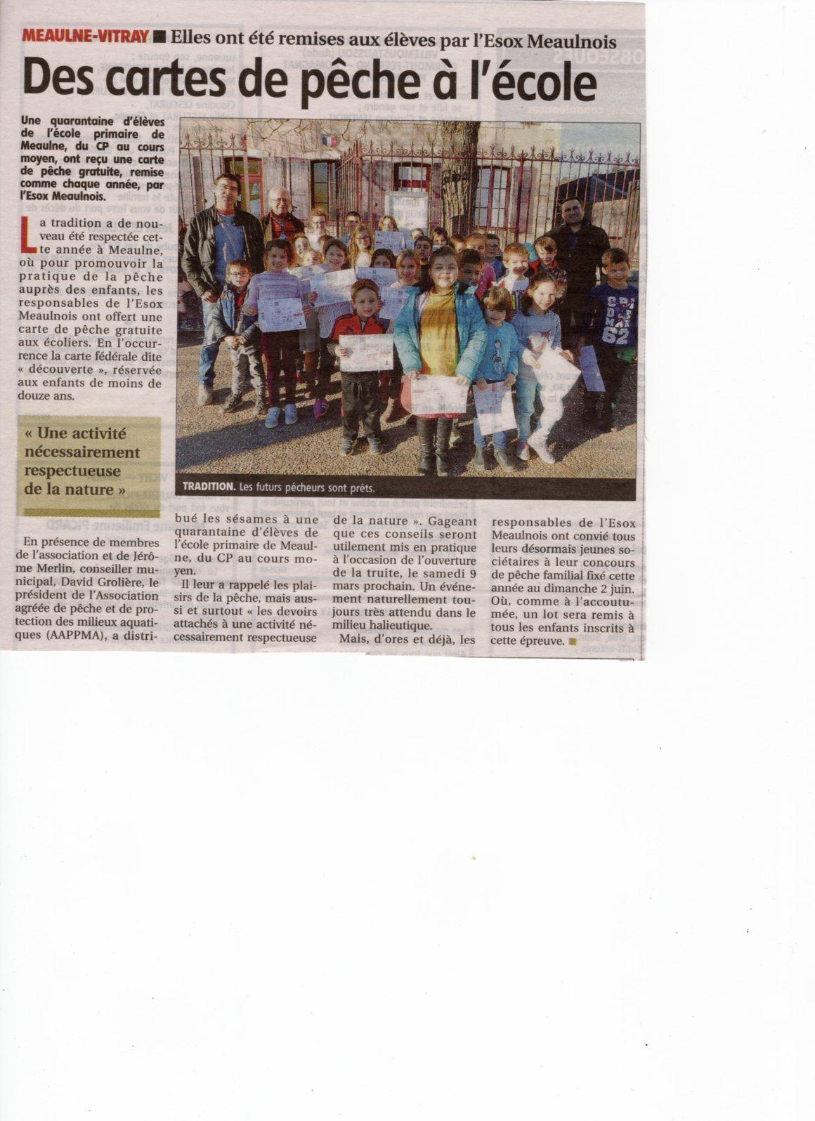 L'AAPPMA de Meaulne offre des cartes de pêche aux enfants de l'école primaire