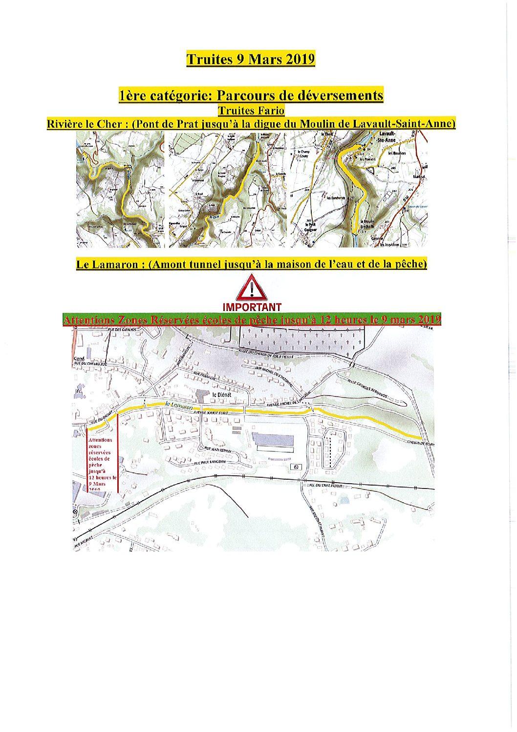 """Déversements de poissons sur les lots de l'AAPPMA """"l'Union des Pêcheurs Bourbonnais"""" de Montluçon"""