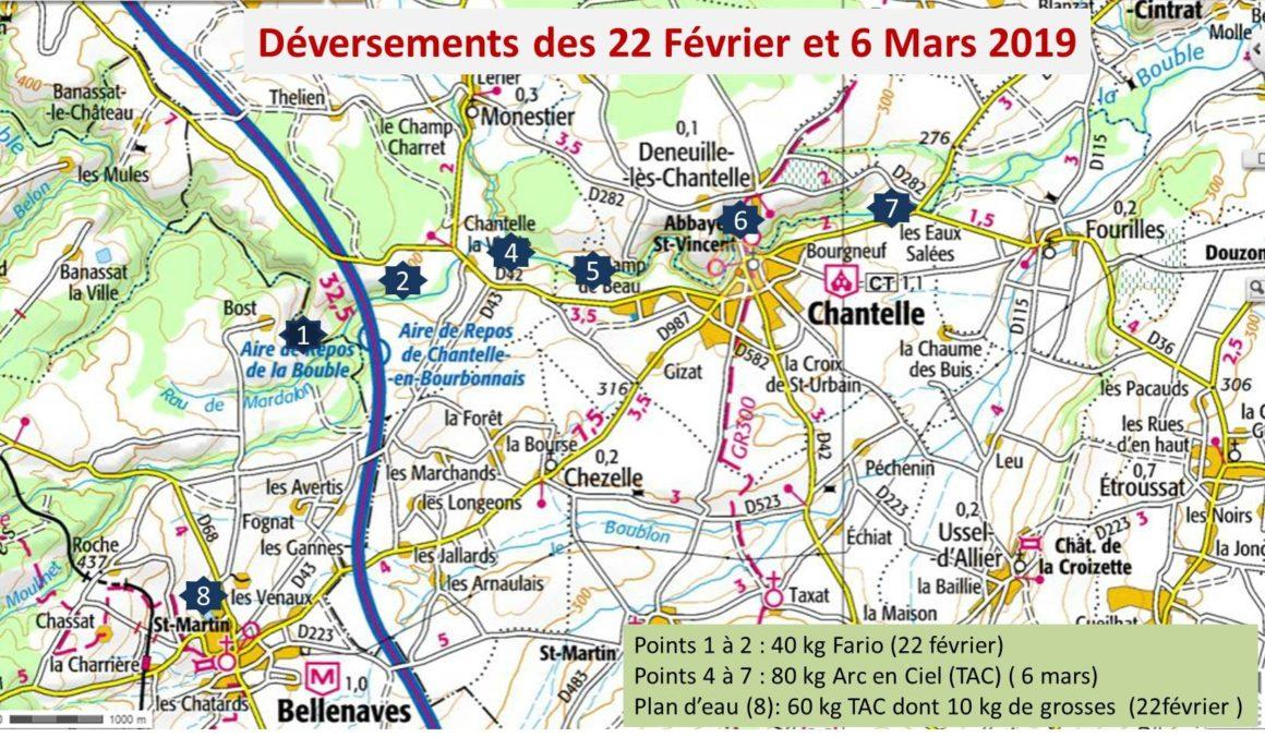 Carte des déversements de truites de l'AAPPMA de Chantelle