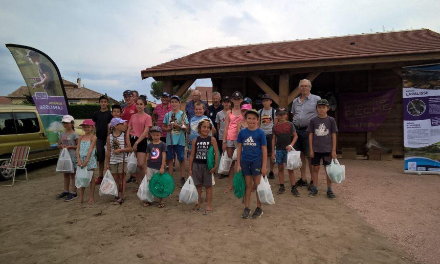 Une belle organisation pour le concours de l'école de pêche de l'AAPPMA de Lapalisse le samedi 01 août au bassin Maurice