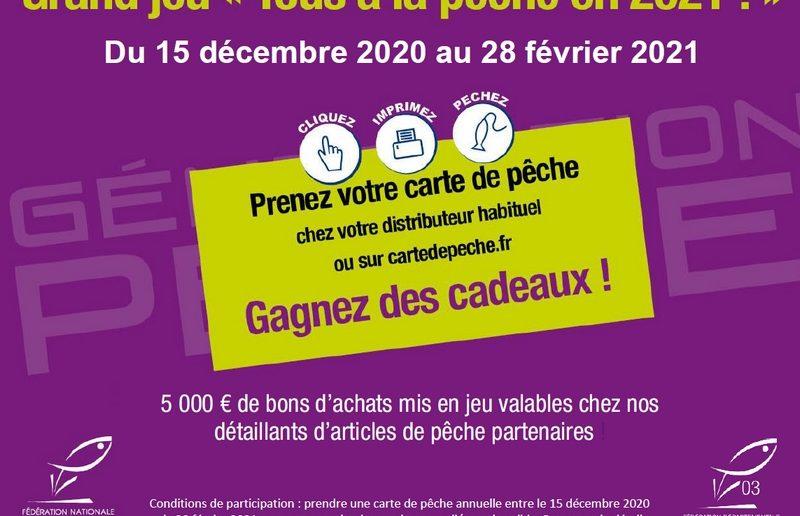 """JEU CONCOURS """"TOUS A LA PECHE EN 2021"""" : La Fédération de pêche de l'Allier lance un grand tirage au sort !"""