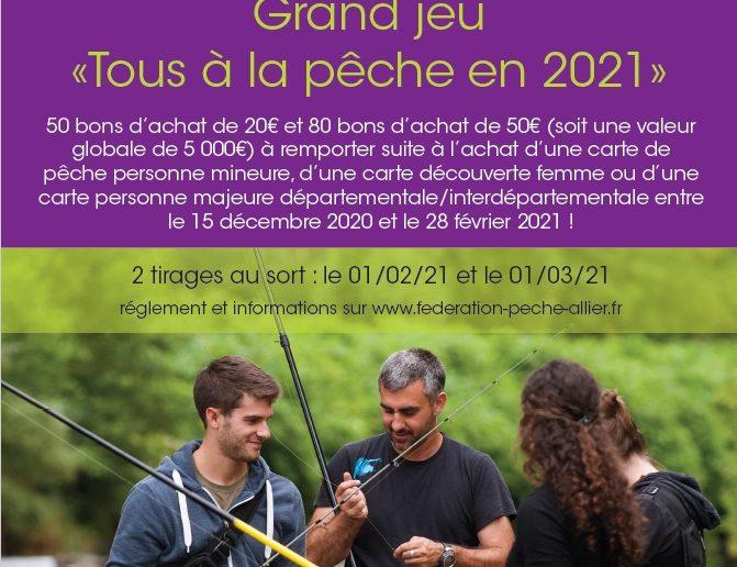 """JEU CONCOURS """"TOUS A LA PECHE EN 2021"""" – Résultats tirage au sort du 1er mars 2021"""