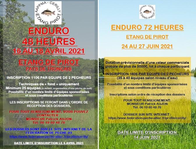 Inscriptions lancées pour les enduros carpes 2021 de Pirot